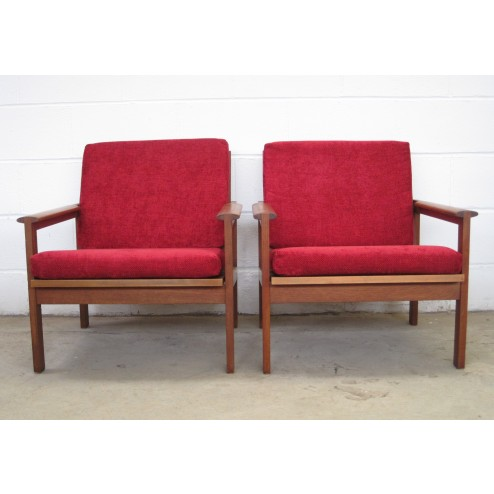 "Illum Wikkelso ""Capella"" open arm chairs in teak for Nils Eilersen - Denmark c1967"