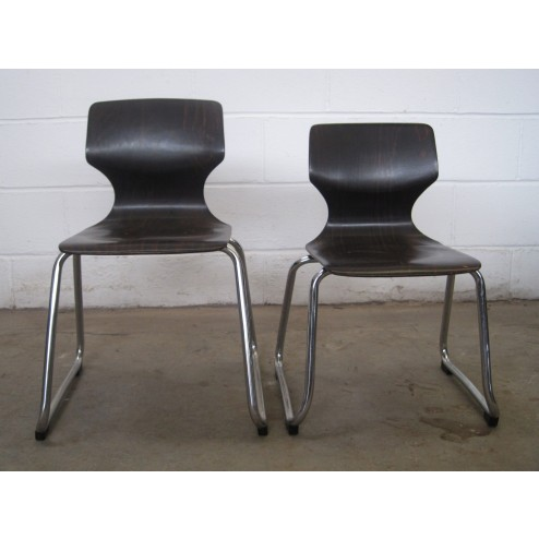 Elmar Flötotto for Pagholz Flötotto bent laminate & chrome chairs c1970s - Germany