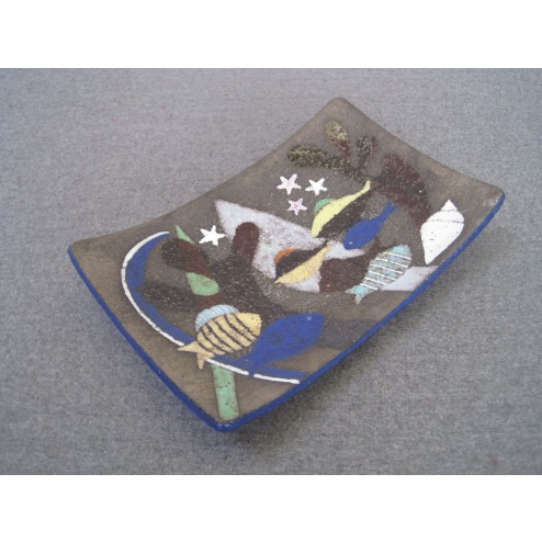 """Anna-Lisa Thomson for Upsala-Ekeby. Large """"Spectra"""" dish / wall plaque c1967 - Sweden"""