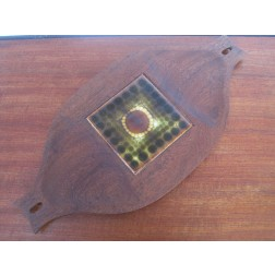 Alan Wallwork tiled large teak cheese board c1960s -England
