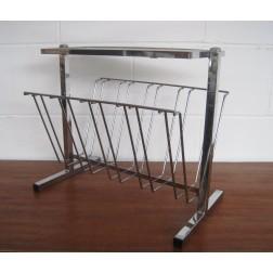 Chrome & Glass magazine rack / side table c1970s - England