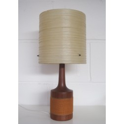 Danish teak lamp with spun fiberglass shade c1960s - Denmark