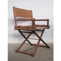 McGuire Directors X frame folding chair by Leonard Linden c1950s - USA