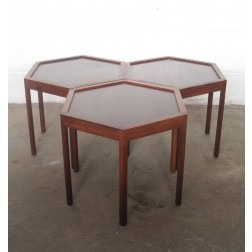 Hans Andersen hexagonal occasional tables in rosewood for Artex c1962 - Denmark
