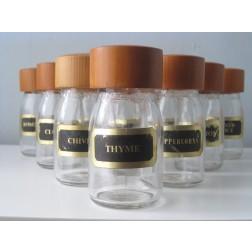 Danish teak topped spice jars - Set of 10 c1960s