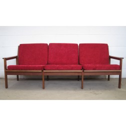 "Illum Wikkelso ""Capella"" three seat open arm sofa in teak for Nils Eilersen - Denmark c1967"