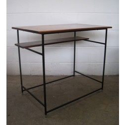 Conran style mahogany & enamelled metal console desk table - c1950s