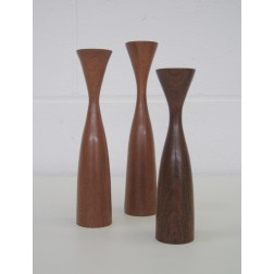 Danish turned teak candleholders - Graduated sizes x 3 c1960s - Denmark