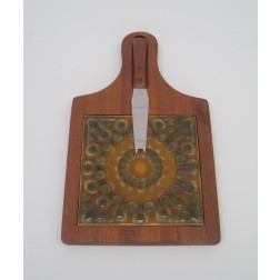 Danish teak tiled cheese board by Luthje c1960s - Denmark