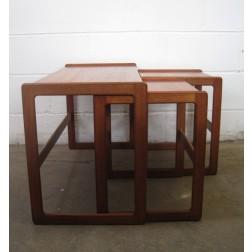 Danish teak nesting table set by Arne Hovmand Olsen for Mogens Kold c1960s - Denmark