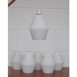 Cased White Glass Ribbed Pendant lamp shades c1960s - England